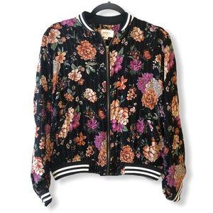Evenly Lightweight Floral Bomber Jacket—M